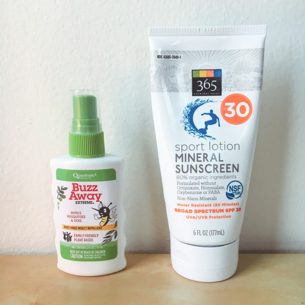natural bugspray and sunscreen